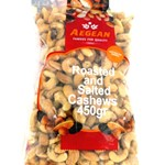 CASHEWS ROASTED SALTED AEGEAN 450g